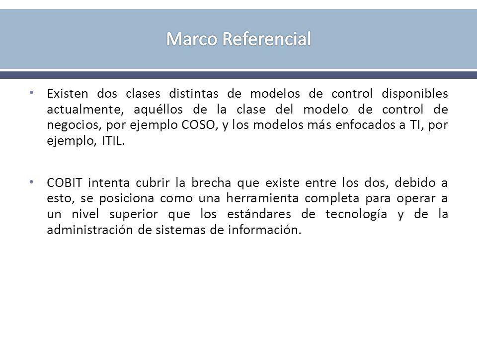 Existen dos clases distintas de modelos de control disponibles actualmente, aquéllos de la clase del modelo de control de negocios, por ejemplo COSO,