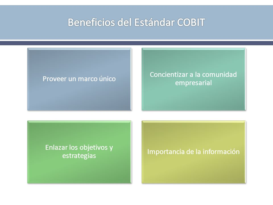 Proveer un marco único Concientizar a la comunidad empresarial Enlazar los objetivos y estrategias Importancia de la información