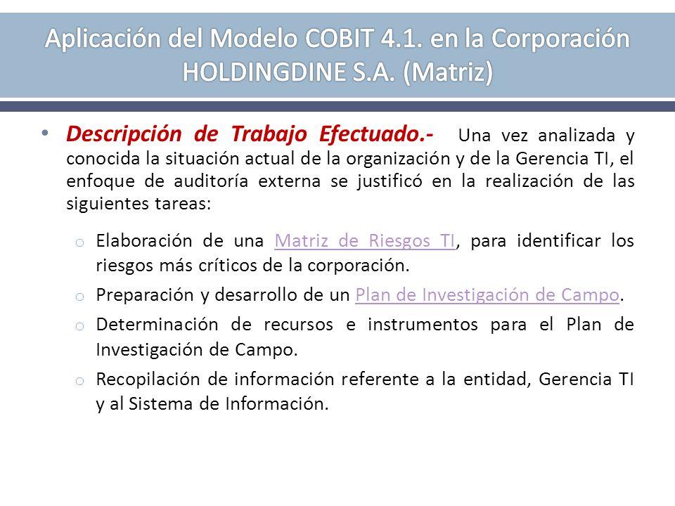 Descripción de Trabajo Efectuado.- Una vez analizada y conocida la situación actual de la organización y de la Gerencia TI, el enfoque de auditoría ex