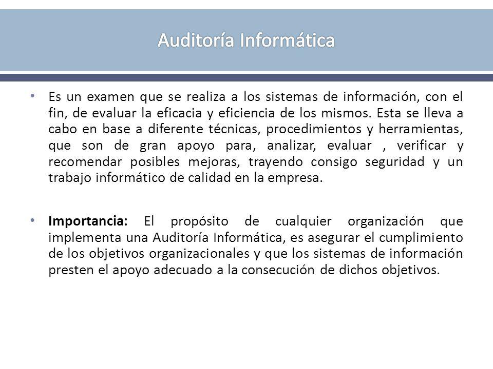 Es un examen que se realiza a los sistemas de información, con el fin, de evaluar la eficacia y eficiencia de los mismos. Esta se lleva a cabo en base