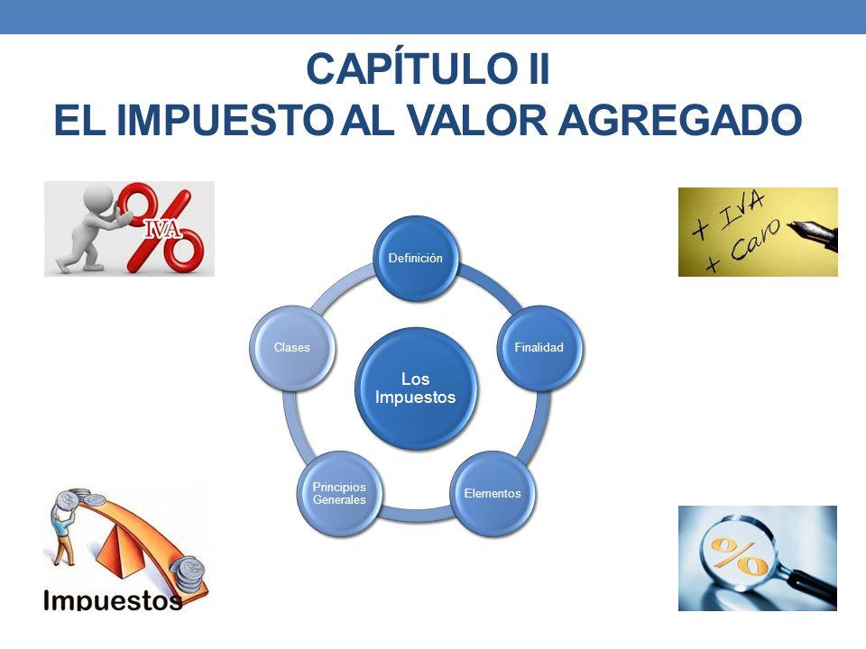 Los Impuestos DefiniciónFinalidadElementos Principios Generales Clases CAPÍTULO II EL IMPUESTO AL VALOR AGREGADO