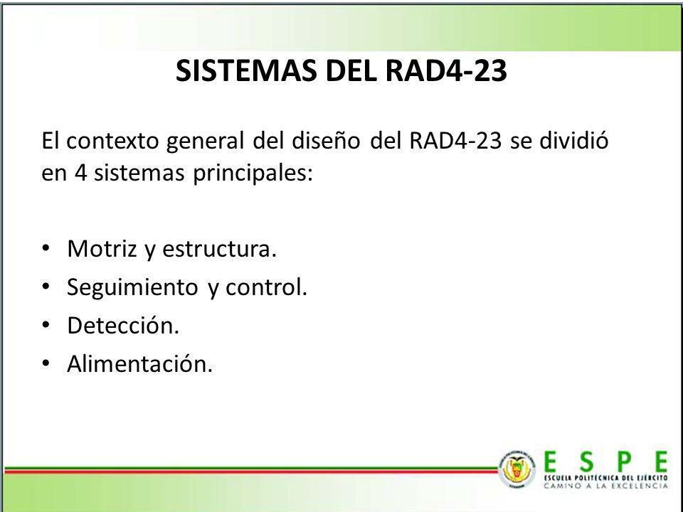 SISTEMAS DEL RAD4-23 El contexto general del diseño del RAD4-23 se dividió en 4 sistemas principales: Motriz y estructura. Seguimiento y control. Dete