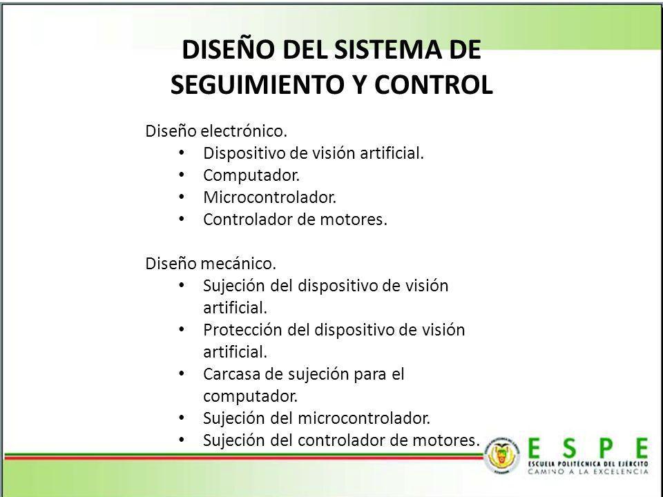 DISEÑO DEL SISTEMA DE SEGUIMIENTO Y CONTROL Diseño electrónico. Dispositivo de visión artificial. Computador. Microcontrolador. Controlador de motores