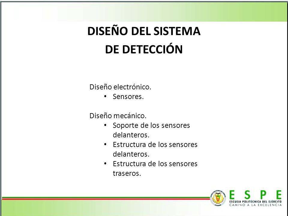 DISEÑO DEL SISTEMA DE DETECCIÓN Diseño electrónico. Sensores. Diseño mecánico. Soporte de los sensores delanteros. Estructura de los sensores delanter