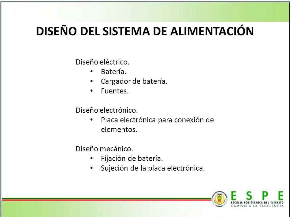 DISEÑO DEL SISTEMA DE ALIMENTACIÓN Diseño eléctrico. Batería. Cargador de batería. Fuentes. Diseño electrónico. Placa electrónica para conexión de ele