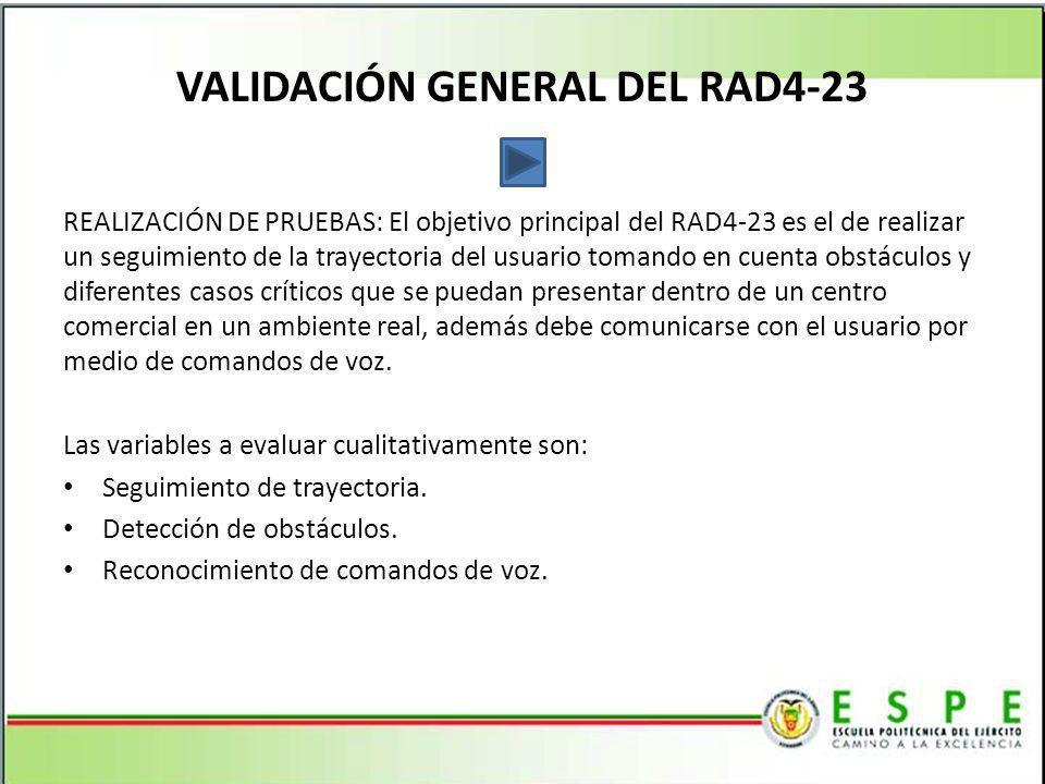 VALIDACIÓN GENERAL DEL RAD4-23 REALIZACIÓN DE PRUEBAS: El objetivo principal del RAD4-23 es el de realizar un seguimiento de la trayectoria del usuari