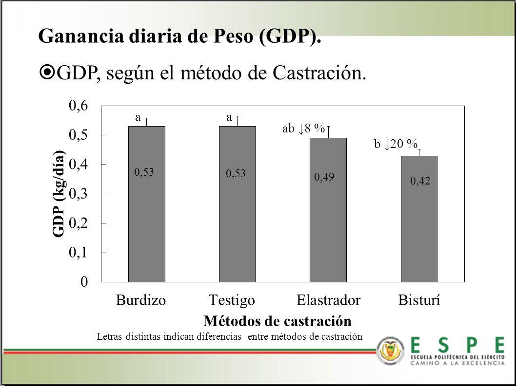 GDP, según el método de Castración. Ganancia diaria de Peso (GDP). Letras distintas indican diferencias entre métodos de castración