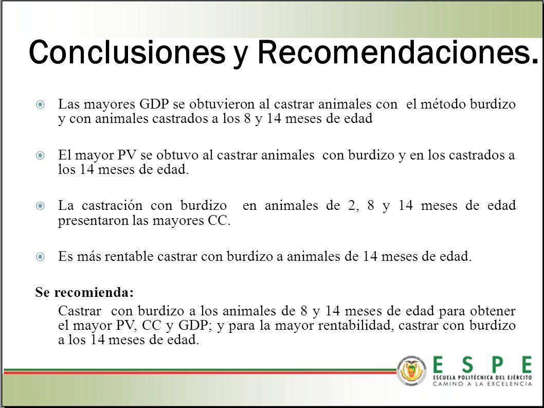 Conclusiones y Recomendaciones. Las mayores GDP se obtuvieron al castrar animales con el método burdizo y con animales castrados a los 8 y 14 meses de