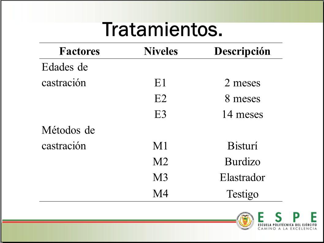 Tratamientos. FactoresNivelesDescripción Edades de castración E12 meses E28 meses E314 meses Métodos de castración M1Bisturí M2Burdizo M3 Elastrador M