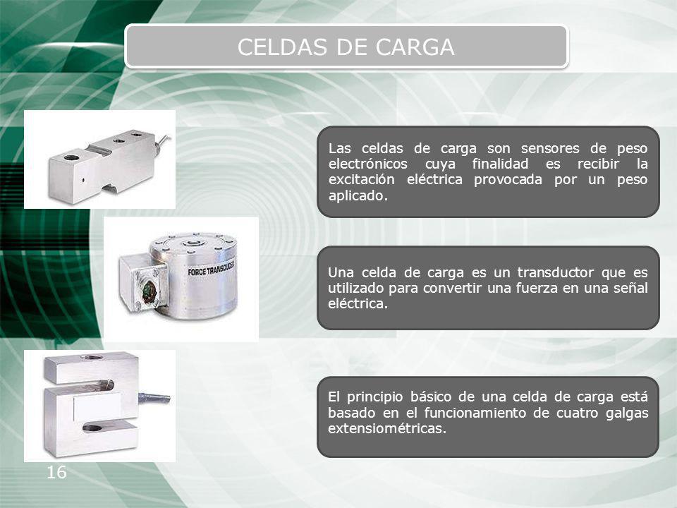 16 CELDAS DE CARGA Las celdas de carga son sensores de peso electrónicos cuya finalidad es recibir la excitación eléctrica provocada por un peso aplic