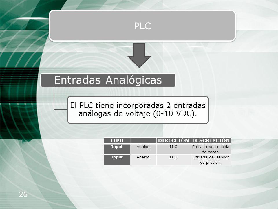 26 PLC Entradas Analógicas El PLC tiene incorporadas 2 entradas análogas de voltaje (0-10 VDC). TIPO DIRECCIÓNDESCRIPCIÓN InputAnalogI1.0 Entrada de l