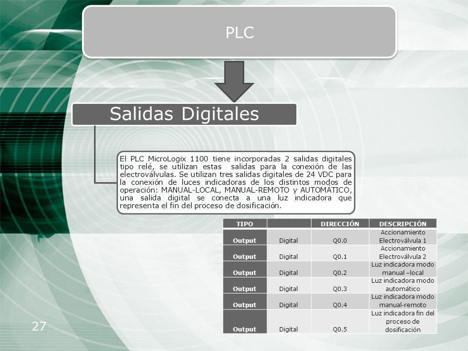 27 PLC Salidas Digitales El PLC MicroLogix 1100 tiene incorporadas 2 salidas digitales tipo relé, se utilizan estas salidas para la conexión de las el