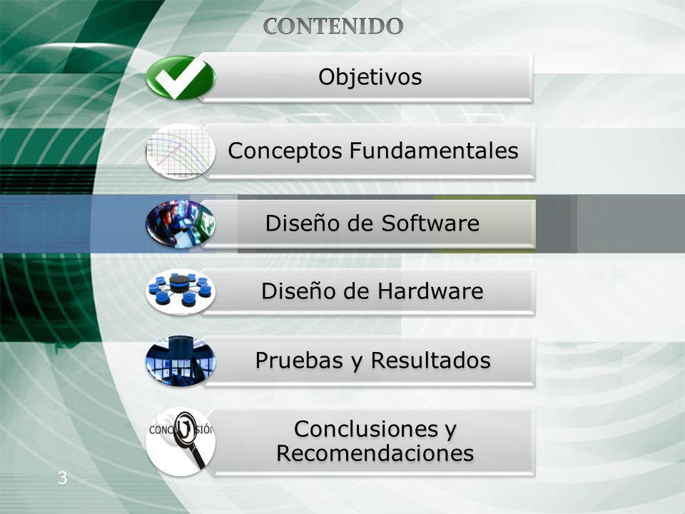 3 Objetivos Conceptos Fundamentales Diseño de Software Diseño de Hardware Pruebas y Resultados Conclusiones y Recomendaciones