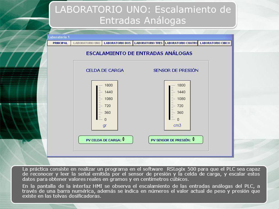 43 LABORATORIO UNO: Escalamiento de Entradas Análogas La práctica consiste en realizar un programa en el software RSLogix 500 para que el PLC sea capa