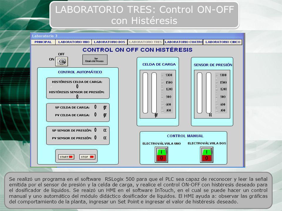 45 LABORATORIO TRES: Control ON-OFF con Histéresis Se realizó un programa en el software RSLogix 500 para que el PLC sea capaz de reconocer y leer la