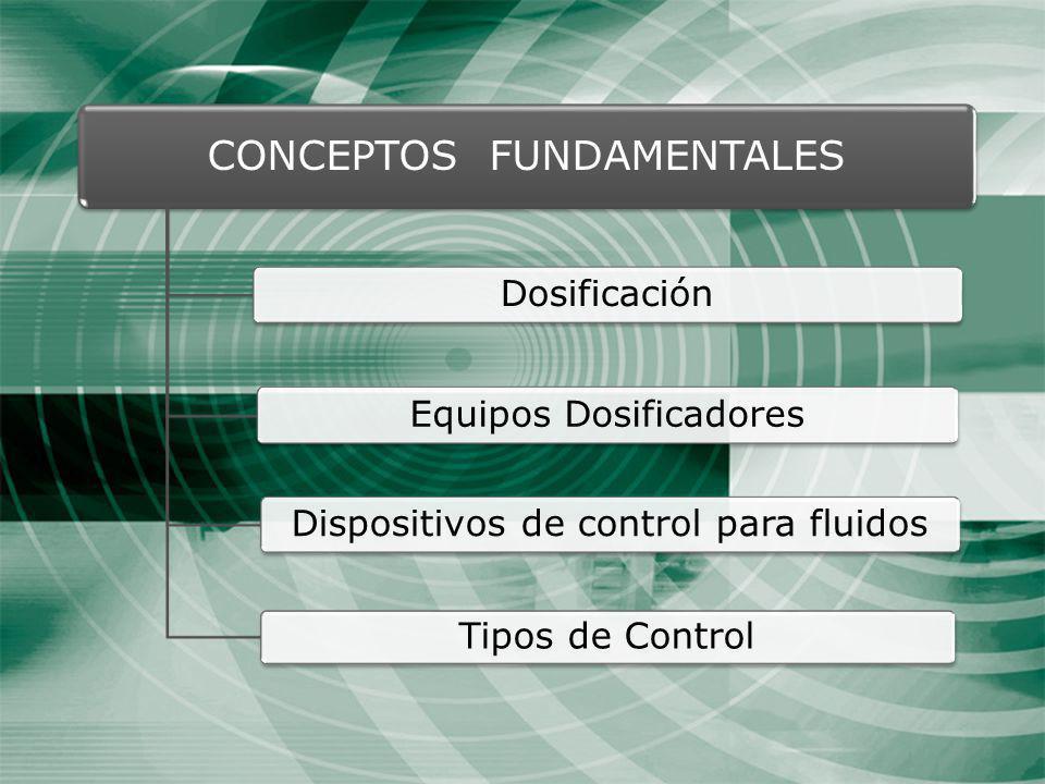 CONCEPTOS FUNDAMENTALES Dosificación Equipos Dosificadores Dispositivos de control para fluidos Tipos de Control