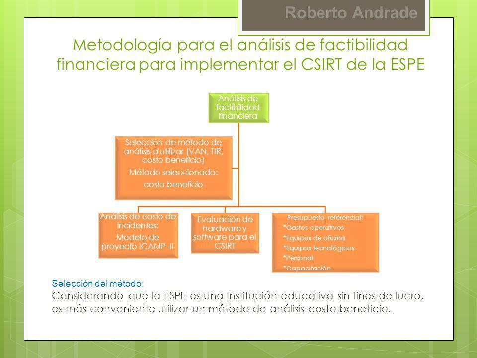 Roberto Andrade Metodología para el análisis de factibilidad financiera para implementar el CSIRT de la ESPE Selección del método: Considerando que la
