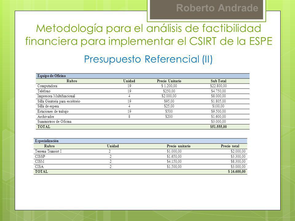 Roberto Andrade Presupuesto Referencial (II) Metodología para el análisis de factibilidad financiera para implementar el CSIRT de la ESPE Equipo de Of