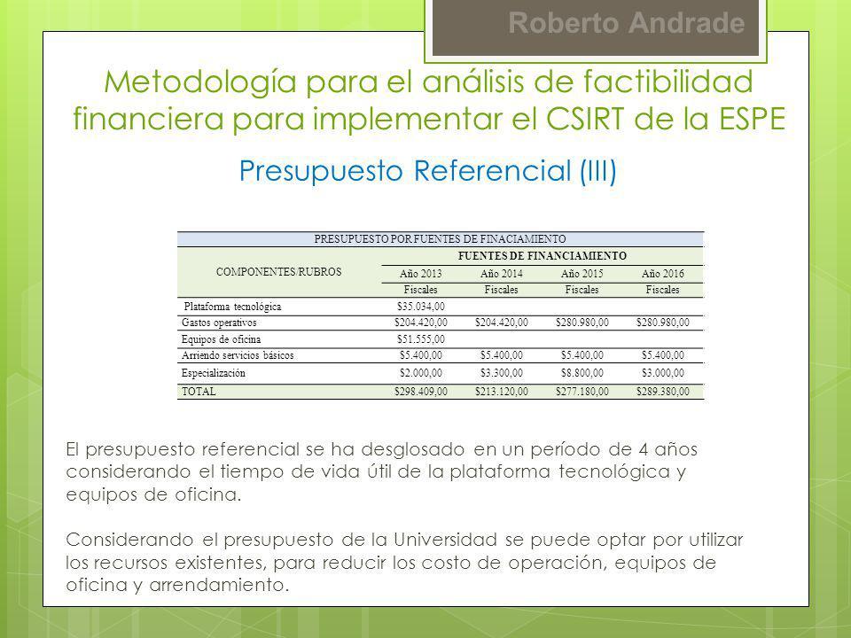 Roberto Andrade Presupuesto Referencial (III) Metodología para el análisis de factibilidad financiera para implementar el CSIRT de la ESPE PRESUPUESTO