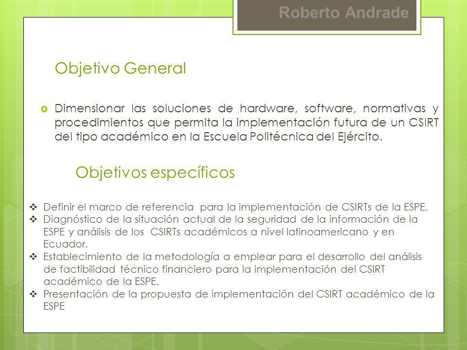 Roberto Andrade Objetivo General Dimensionar las soluciones de hardware, software, normativas y procedimientos que permita la implementación futura de