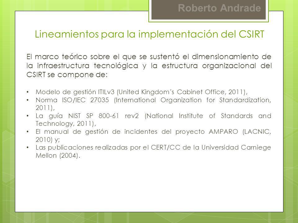 Roberto Andrade Lineamientos para la implementación del CSIRT El marco teórico sobre el que se sustentó el dimensionamiento de la infraestructura tecn