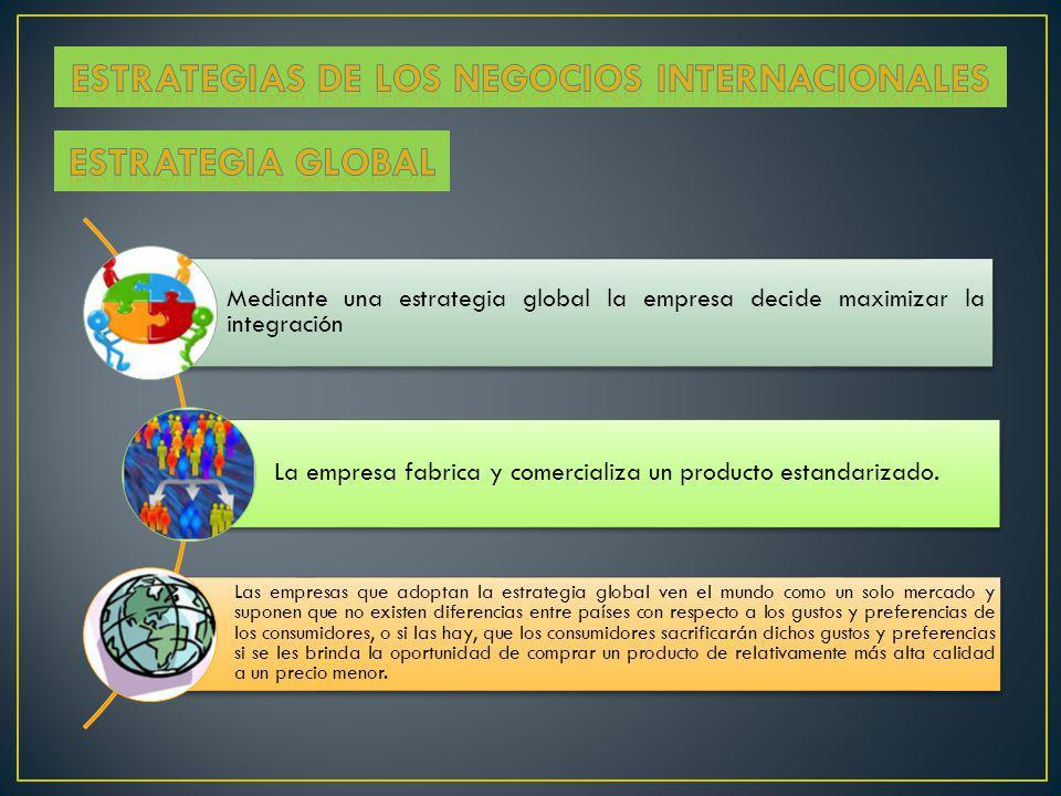 Mediante una estrategia global la empresa decide maximizar la integración La empresa fabrica y comercializa un producto estandarizado. Las empresas qu