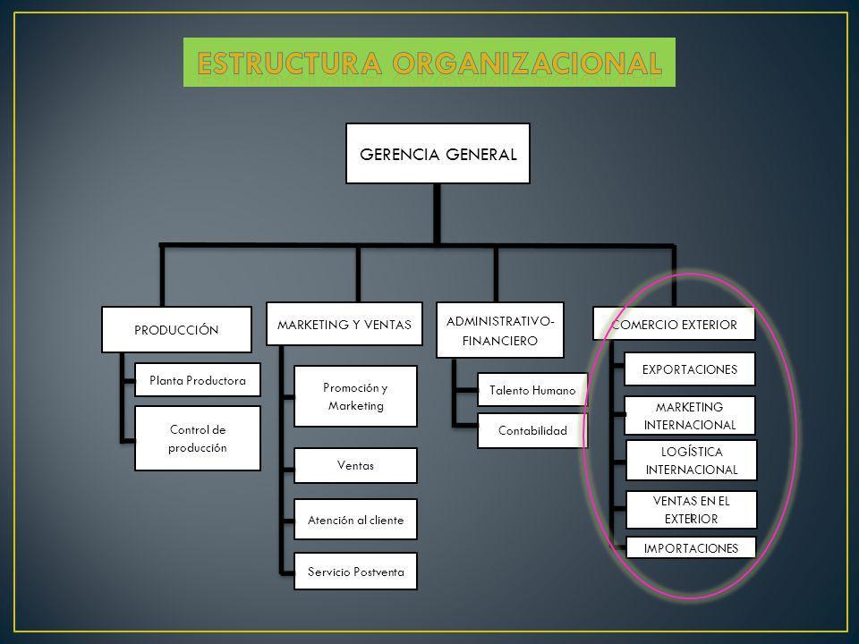 GERENCIA GENERAL PRODUCCIÓN MARKETING Y VENTAS ADMINISTRATIVO- FINANCIERO Planta Productora Ventas Control de producción Atención al cliente Servicio