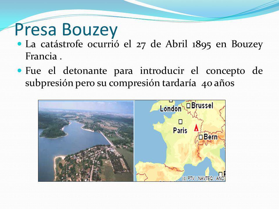 Presa Bouzey La catástrofe ocurrió el 27 de Abril 1895 en Bouzey Francia. Fue el detonante para introducir el concepto de subpresión pero su compresió