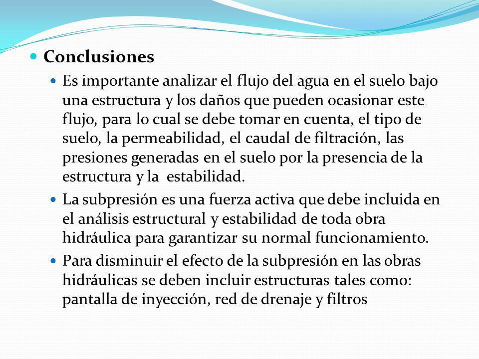Conclusiones Es importante analizar el flujo del agua en el suelo bajo una estructura y los daños que pueden ocasionar este flujo, para lo cual se deb