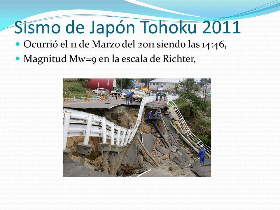 Sismo de Japón Tohoku 2011 Ocurrió el 11 de Marzo del 2011 siendo las 14:46, Magnitud Mw=9 en la escala de Richter,