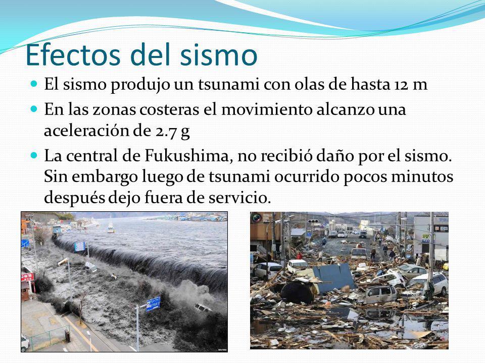 Efectos del sismo El sismo produjo un tsunami con olas de hasta 12 m En las zonas costeras el movimiento alcanzo una aceleración de 2.7 g La central d