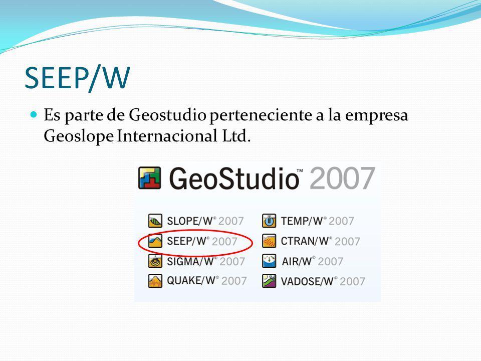 SEEP/W Es parte de Geostudio perteneciente a la empresa Geoslope Internacional Ltd.