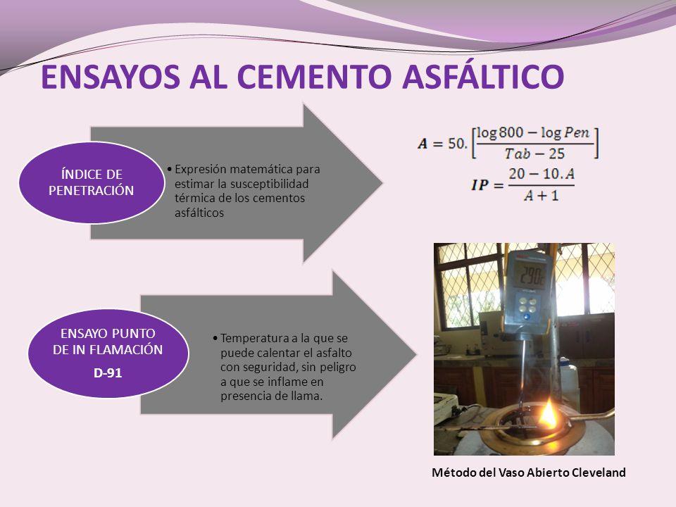 ENSAYOS AL CEMENTO ASFÁLTICO Expresión matemática para estimar la susceptibilidad térmica de los cementos asfálticos ÍNDICE DE PENETRACIÓN Temperatura a la que se puede calentar el asfalto con seguridad, sin peligro a que se inflame en presencia de llama.