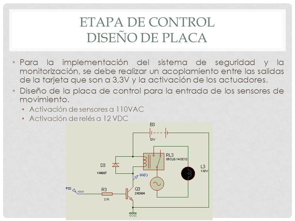 ETAPA DE CONTROL DISEÑO DE PLACA Para la implementación del sistema de seguridad y la monitorización, se debe realizar un acoplamiento entre las salid