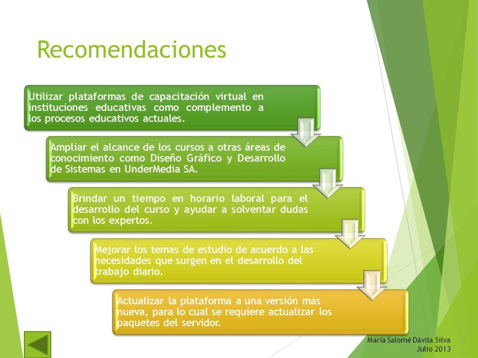 Recomendaciones Utilizar plataformas de capacitación virtual en instituciones educativas como complemento a los procesos educativos actuales. Ampliar