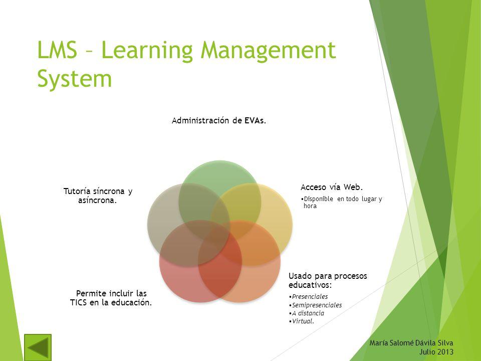 LMS – Learning Management System Administración de EVAs. Acceso vía Web. Disponible en todo lugar y hora Usado para procesos educativos: Presenciales
