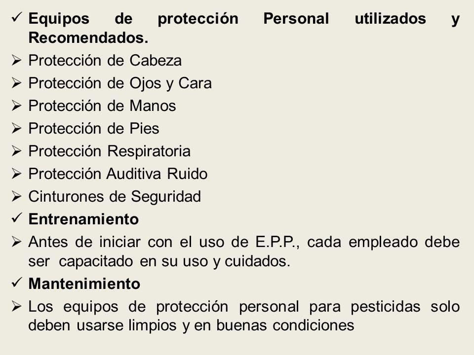 Equipos de protección Personal utilizados y Recomendados. Protección de Cabeza Protección de Ojos y Cara Protección de Manos Protección de Pies Protec