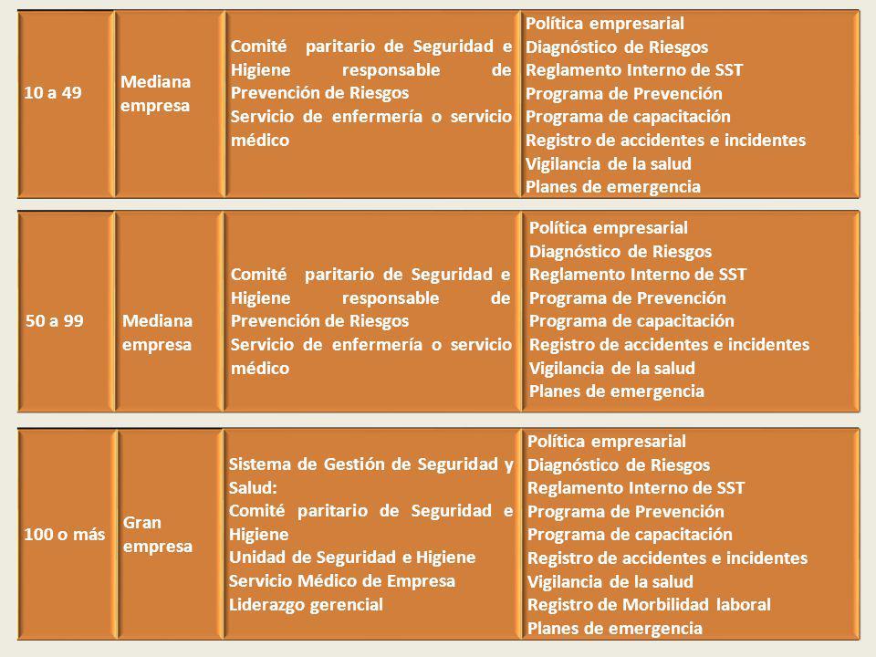 10 a 49 Mediana empresa Comité paritario de Seguridad e Higiene responsable de Prevención de Riesgos Servicio de enfermería o servicio médico Política