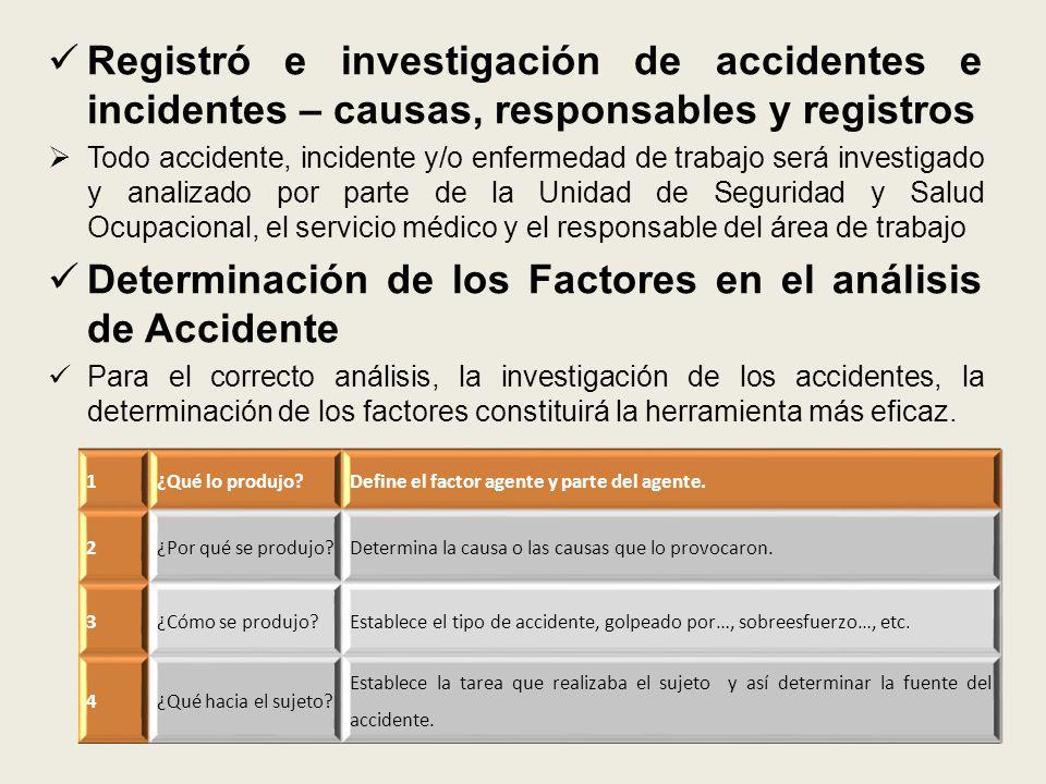 Registró e investigación de accidentes e incidentes – causas, responsables y registros Todo accidente, incidente y/o enfermedad de trabajo será invest