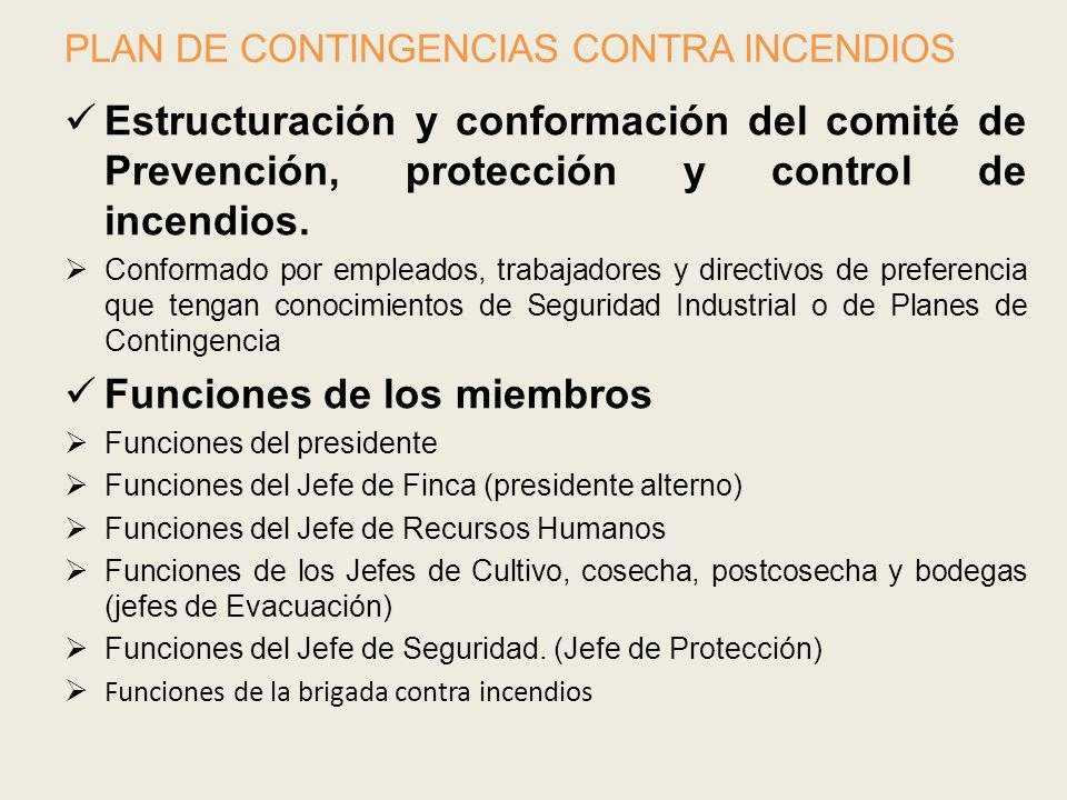 PLAN DE CONTINGENCIAS CONTRA INCENDIOS Estructuración y conformación del comité de Prevención, protección y control de incendios. Conformado por emple