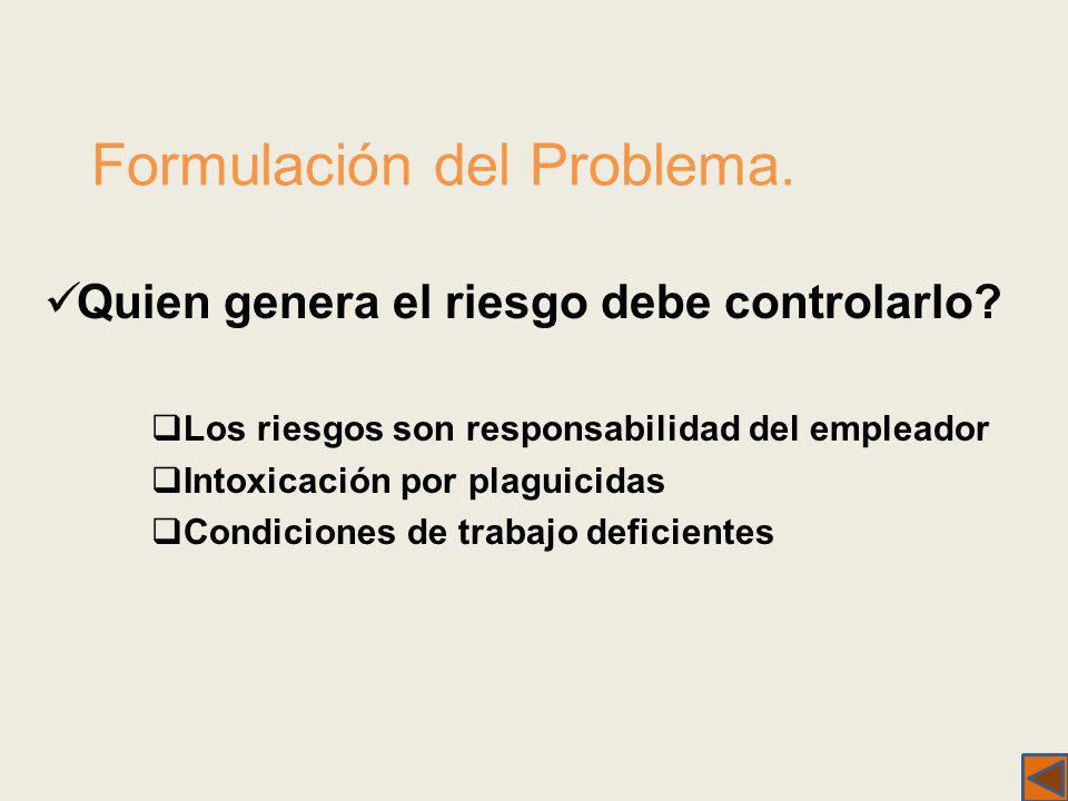 Formulación del Problema. Quien genera el riesgo debe controlarlo? Los riesgos son responsabilidad del empleador Intoxicación por plaguicidas Condicio
