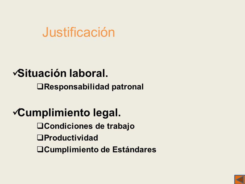 Justificación Situación laboral. Responsabilidad patronal Cumplimiento legal. Condiciones de trabajo Productividad Cumplimiento de Estándares