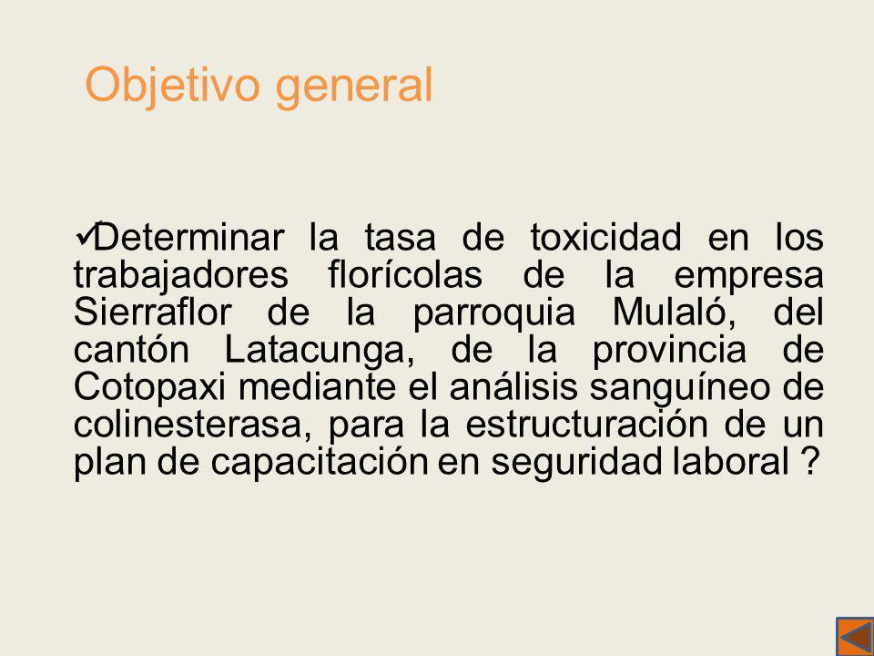 Objetivo general Determinar la tasa de toxicidad en los trabajadores florícolas de la empresa Sierraflor de la parroquia Mulaló, del cantón Latacunga,