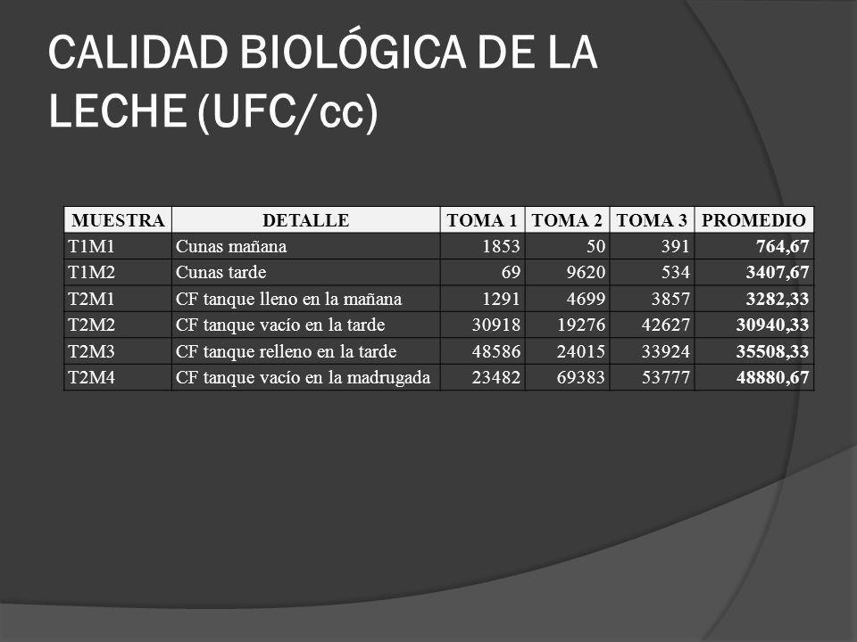 CALIDAD BIOLÓGICA DE LA LECHE (UFC/cc) MUESTRADETALLETOMA 1TOMA 2TOMA 3PROMEDIO T1M1Cunas mañana185350391764,67 T1M2Cunas tarde6996205343407,67 T2M1CF