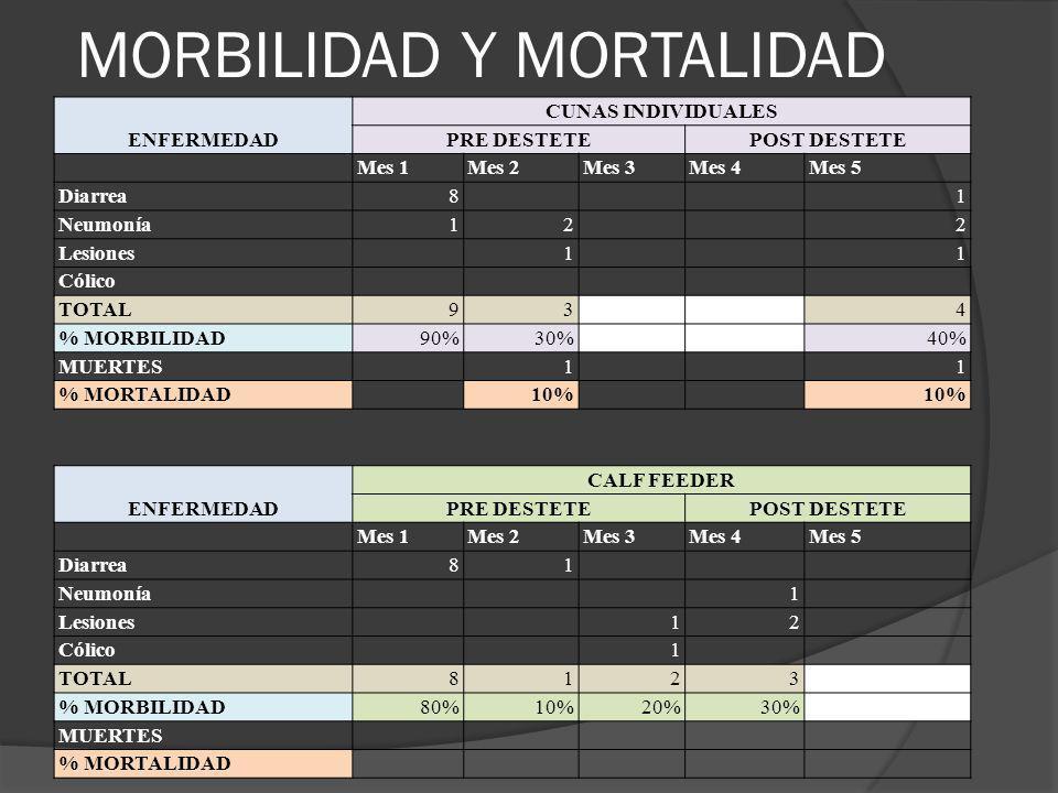MORBILIDAD Y MORTALIDAD ENFERMEDAD CUNAS INDIVIDUALES PRE DESTETEPOST DESTETE Mes 1Mes 2Mes 3Mes 4Mes 5 Diarrea8 1 Neumonía12 2 Lesiones 1 1 Cólico TO