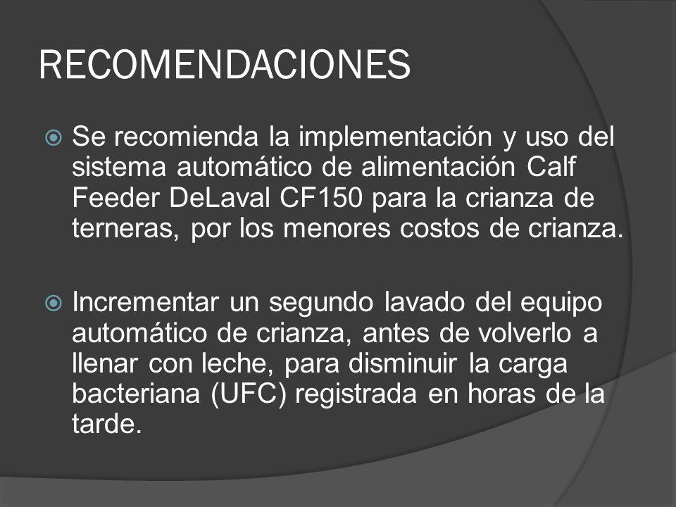 RECOMENDACIONES Se recomienda la implementación y uso del sistema automático de alimentación Calf Feeder DeLaval CF150 para la crianza de terneras, po