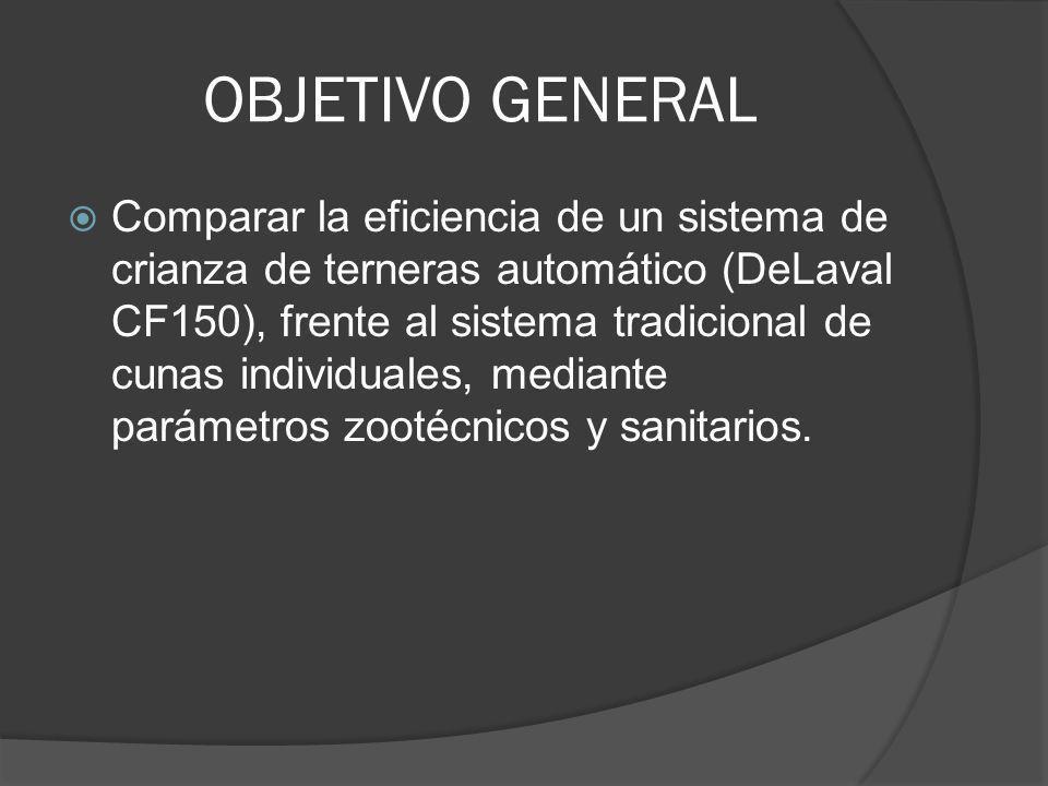 OBJETIVO GENERAL Comparar la eficiencia de un sistema de crianza de terneras automático (DeLaval CF150), frente al sistema tradicional de cunas indivi