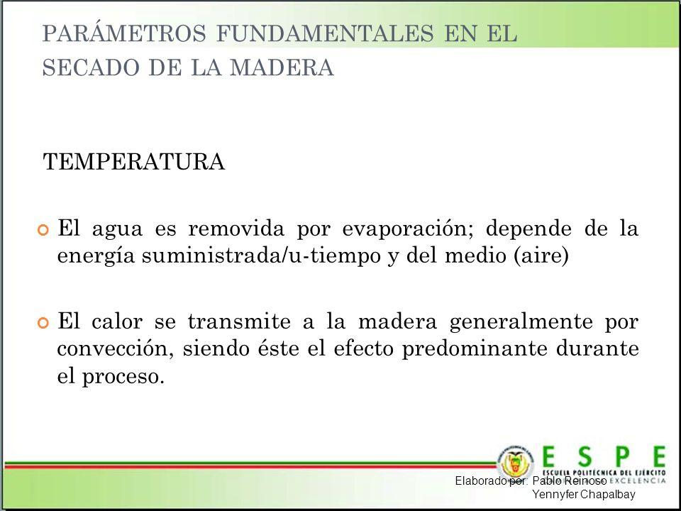PARÁMETROS FUNDAMENTALES EN EL SECADO DE LA MADERA TEMPERATURA El agua es removida por evaporación; depende de la energía suministrada/u-tiempo y del