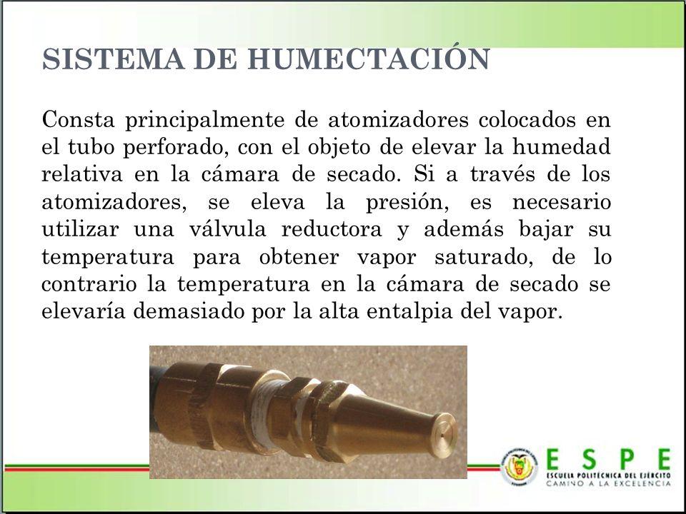 SISTEMA DE HUMECTACIÓN Consta principalmente de atomizadores colocados en el tubo perforado, con el objeto de elevar la humedad relativa en la cámara