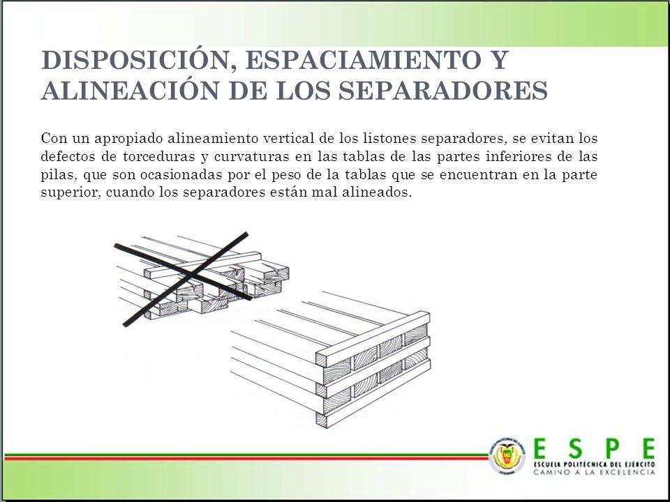 DISPOSICIÓN, ESPACIAMIENTO Y ALINEACIÓN DE LOS SEPARADORES Con un apropiado alineamiento vertical de los listones separadores, se evitan los defectos